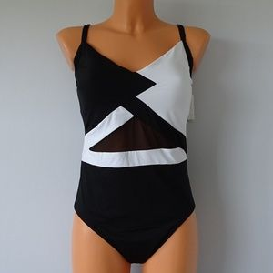 Anne Cole Black/White One Piece Mesh Swimsuit NWT